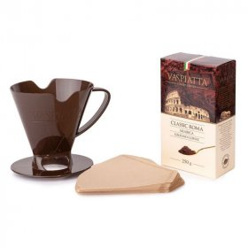 Zestaw do zaparzania kawy Vaspiatta Classic Roma: kawa mielona Vaspiatta Classic Roma 250g- 1 sztuka/filtry papierowe- 25 sztuk/ dripper- 1 sztuka