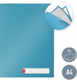 Folder z 3 przegródkami Leitz Cosy, A4, do 40 kartek, niebieski