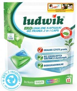 Kapsułki do prania tkanin białych i kolorowych Ludwik Ekologiczny 2 in 1,  32 sztuki