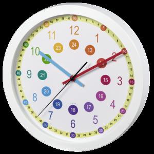 Zegar ścienny Hama Easy Learning, dziecięcy, 30cm, tarcza mix kolorów, obudowa kolor biały