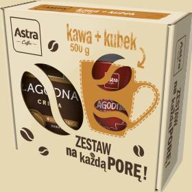 Zestaw prezentowy Astra, kawa ziarnista Łagodna Crema, 500g + kubek