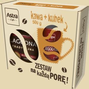 Zestaw prezentowy Astra, kawa ziarnista Tradycyjna, 500g + kubek