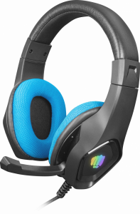 Słuchawki przewodowe z mikrofonem Fury Phantom, nauszne, podświetlenie, czarno-niebieski