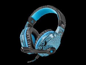 Słuchawki przewodowe z mikrofonem Fury HellCat, nauszne, podświetlenie, czarno-niebieski