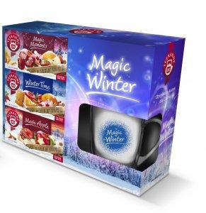Zestaw prezentowy herbat owocowych Teekane Magic Winter (Magic Moments, Winter Time, Magic Apple) + kubek z niebieską grafiką