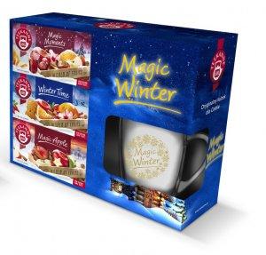 Zestaw prezentowy herbat owocowych Teekane Magic Winter (Magic Moments, Winter Time, Magic Apple) + kubek z jasną grafiką