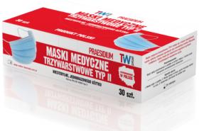 Maseczka medyczna EN14683-2019, trójwarstwowa typ II, 10 szt,  klips nosowy, niebieski (c)