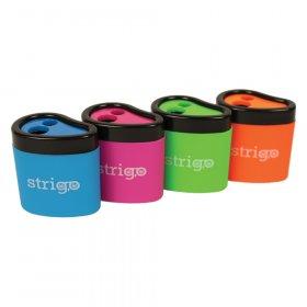 Temperówka z pojemnikiem Strigo SS04, plastik, 2 otwory, mix kolorów