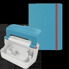 Zestaw pojemnik z uchwytem Leitz Cosy + teczka Leitz Cosy, A4, 8mm, niebieski