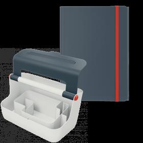 Zestaw pojemnik z uchwytem Leitz Cosy + teczka Leitz Cosy, A4, 8mm, szary
