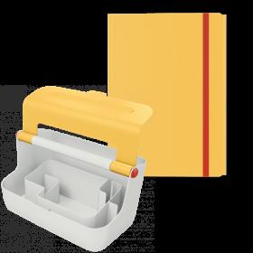 Zestaw pojemnik z uchwytem Leitz Cosy + teczka Leitz Cosy, A4, 8mm, żółty