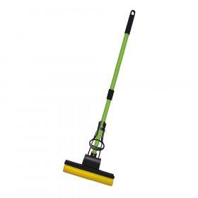 Mop gąbczasty Azur, końcówka+kij,  zielono-żółty