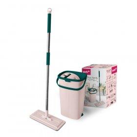 Mop płaski York Handy, mop płaski (końcówka)+kij+wiadro, różowy-zielony