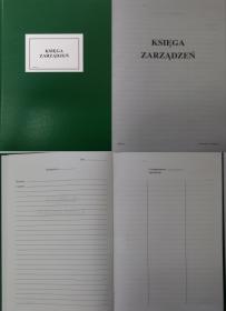Druk akcydensowy Księga zarządzeń I/17, A4, 100 kart, oprawa twarda, zielony