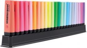 Zakreślacz Stabilo Boss Original, ścięta, z podstawką na biurko, 23 sztuki, mix kolorów