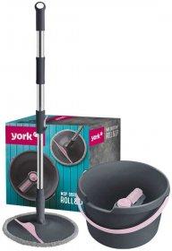 Mop obrotowy York Roll&up, końcówka+kij+wiadro, szaro-różowy