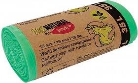 Worki na śmieci Eco Natural by York, zawiązywane, 35l, 15 sztuk, zielony