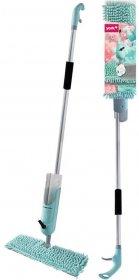 Mop płaski ze spryskiwaczem York Dual Splash, szaro-zielony, kij+mop