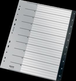 Przekładki plastikowe numeryczne Leitz Recycle, A4 maxi, 1 - 10 przekładek