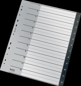Przekładki plastikowe numeryczne Leitz Recycle, A4 maxi, 1 - 12 przekładek