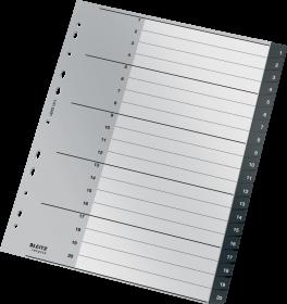 Przekładki plastikowe numeryczne Leitz Recycle, A4 maxi,  1 - 20 przekładek