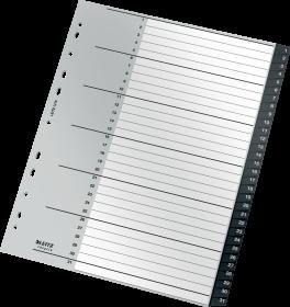 Przekładki plastikowe numeryczne Leitz Recycle, A4 maxi, 1 - 31 przekładek