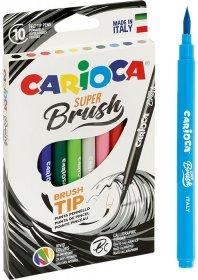 Pisaki Carioca Brush Tip, 10 sztuk, mix kolorów
