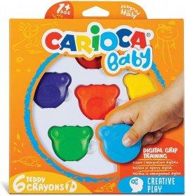 Kredki Carioca Baby Misiaki, dla dzieci 1+, 6 sztuk, mix kolorów