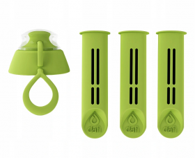 Filtr do butelki filtrującej Dafi, 3 sztuki + 1 zakrętka, zielony