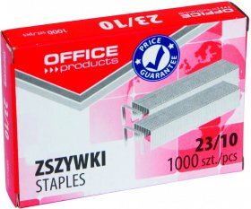 Zszywki Office Products 23/10, 1000 sztuk, srebrny