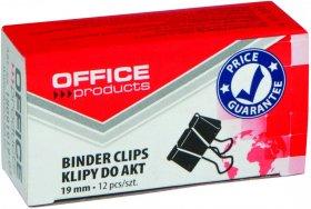 Klip biurowy Office Products, 19mm, 12 sztuk, czarny