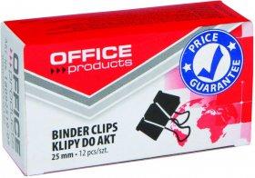 Klip biurowy Office Products, 25mm, 12 sztuk, czarny