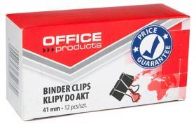 Klip biurowy Office Products, 41mm, 12 sztuk, czarny
