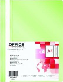 Skoroszyt plastikowy bez oczek Office Products, A4, do 200 kartek, jasnozielony