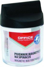 Pojemnik magnetyczny na spinacze Office Products, okrągły, bez spinaczy, transparentny