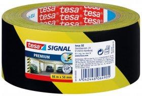 Taśma ostrzegawcza Tesa Signal Premium, samoprzylepna, PVC, 66mx50mm, czarno-żółty