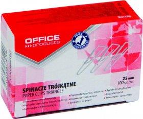 Spinacz Office Products, trójkątny, 25mm, 100 sztuk, srebrny