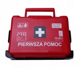 Apteczka PK MOT BD new z wieszakiem, z wyposażeniem  (DIN13164), czerwony