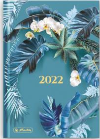 Kalendarz książkowy Herlitz 2022, Boho, A5, dzienny, 180 kartek, niebieski