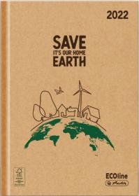 Kalendarz książkowy Herlitz 2022, Ecoline Planeta, A5, dzienny, 180 kartek, brązowy