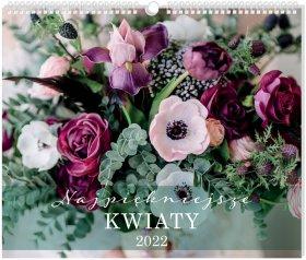 Kalendarz ścienny Interdruk 2022, planszowy, 335x400mm, Kwiaty