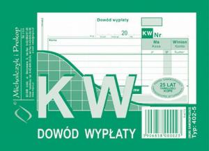 Druk akcydensowy KW Dowód wypłaty MiP, A6, wielokopia, 80k