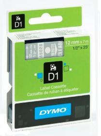 Taśma Dymo D1, 12mm x 7m, nadruk biały, taśma-przezroczysta
