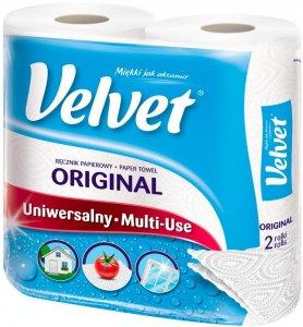 Ręcznik papierowy Velvet Original, 2-warstwowy, 2x12.42m, w roli, 2 rolki, biały