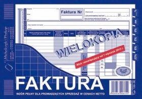 Druk akcydensowy Faktura VAT netto pełna MiP, A5, wielokopia, 80k