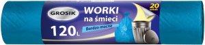Worki na śmieci Grosik, HD, 120l, 69x105cm, 20 sztuk, niebieski