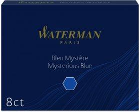 Naboje do piór Waterman, Standard, długie, 8 sztuk, czarno-niebieski