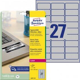 Etykiety znamionowe Avery Zweckform, 63.5x29.6mm, 20 arkuszy, srebrny
