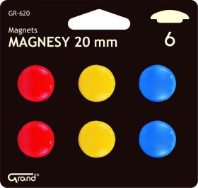 Magnesy Grand GR-620, 20 mm, w blistrze, 6 sztuk, mix kolorów