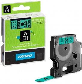 Taśma Dymo D1, 12mm x 7m, nadruk czarny, taśma-zielona